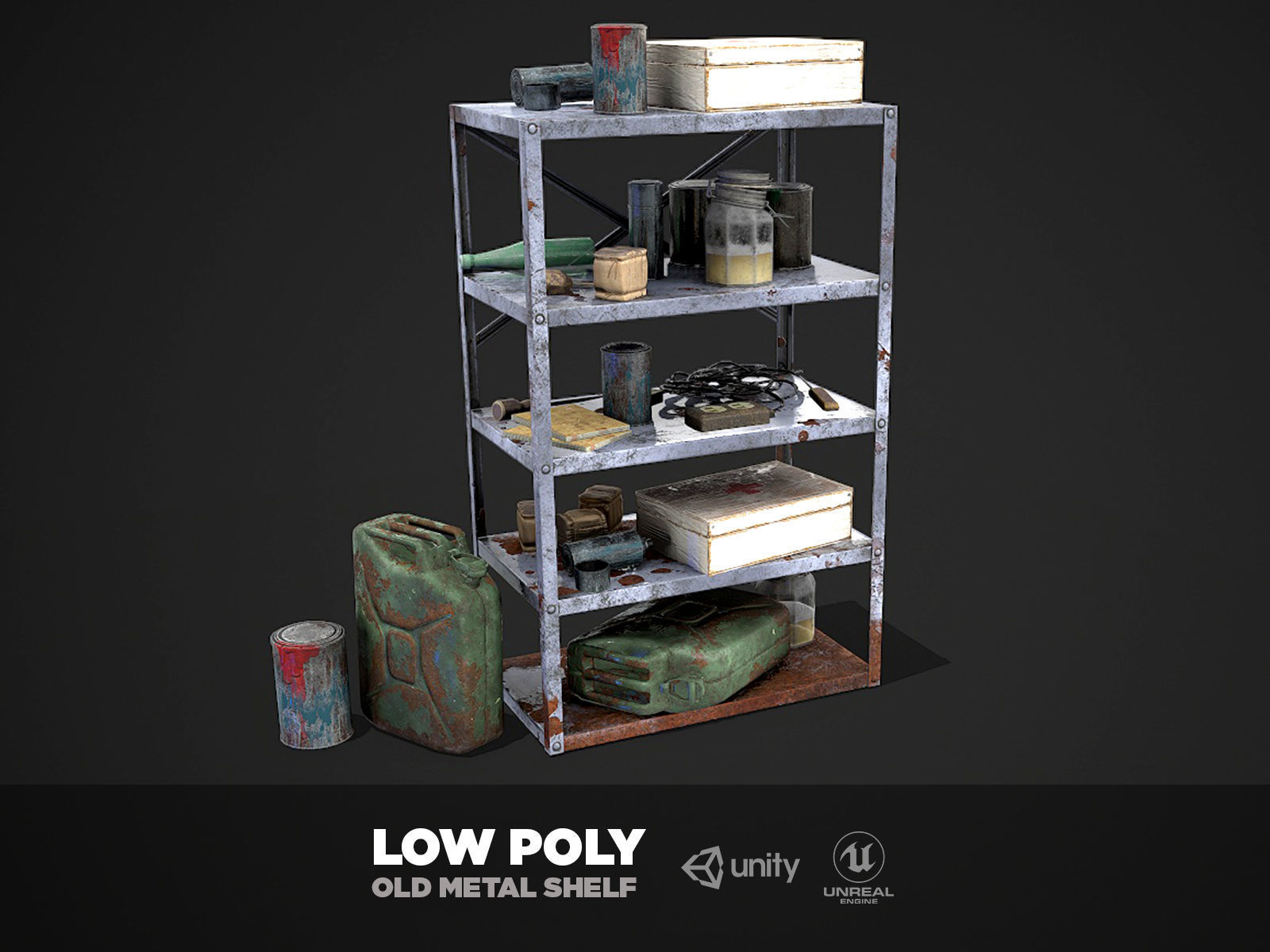 Metal Shelf Collection with garbage - Modular Game ready props