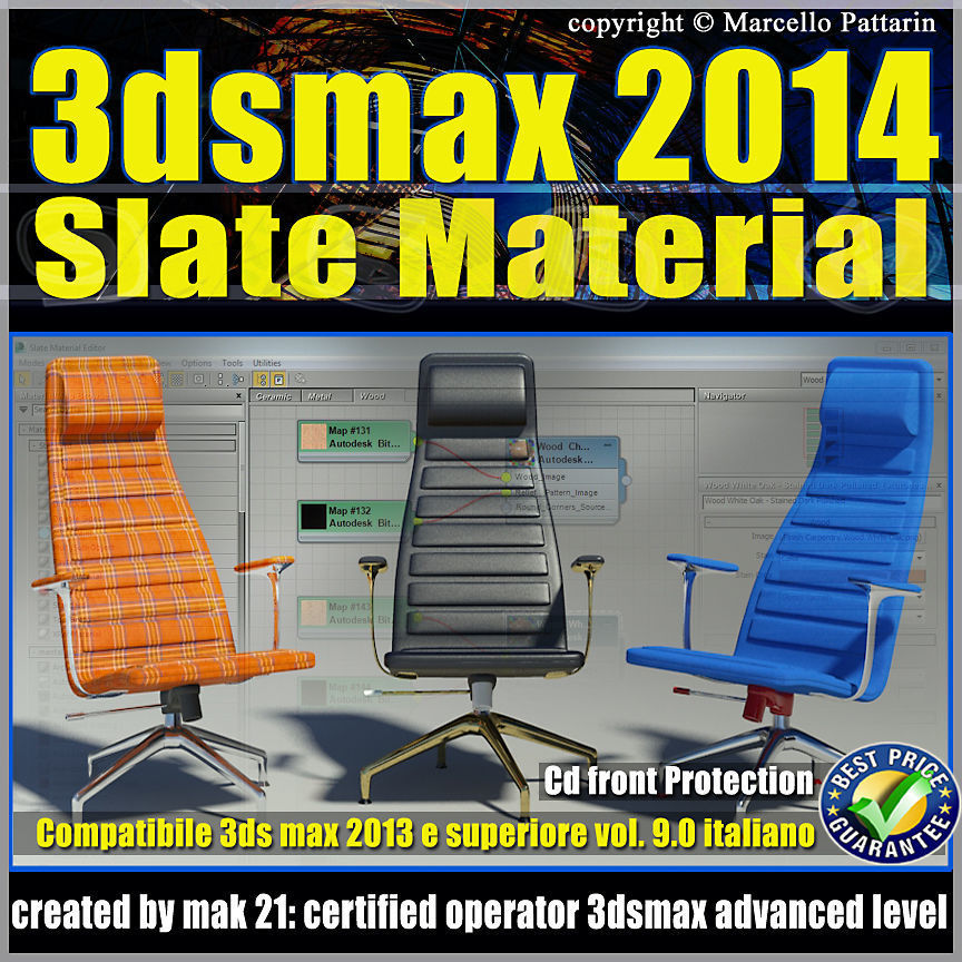 3ds max 2014 Slate Material v 9 Italiano cd front