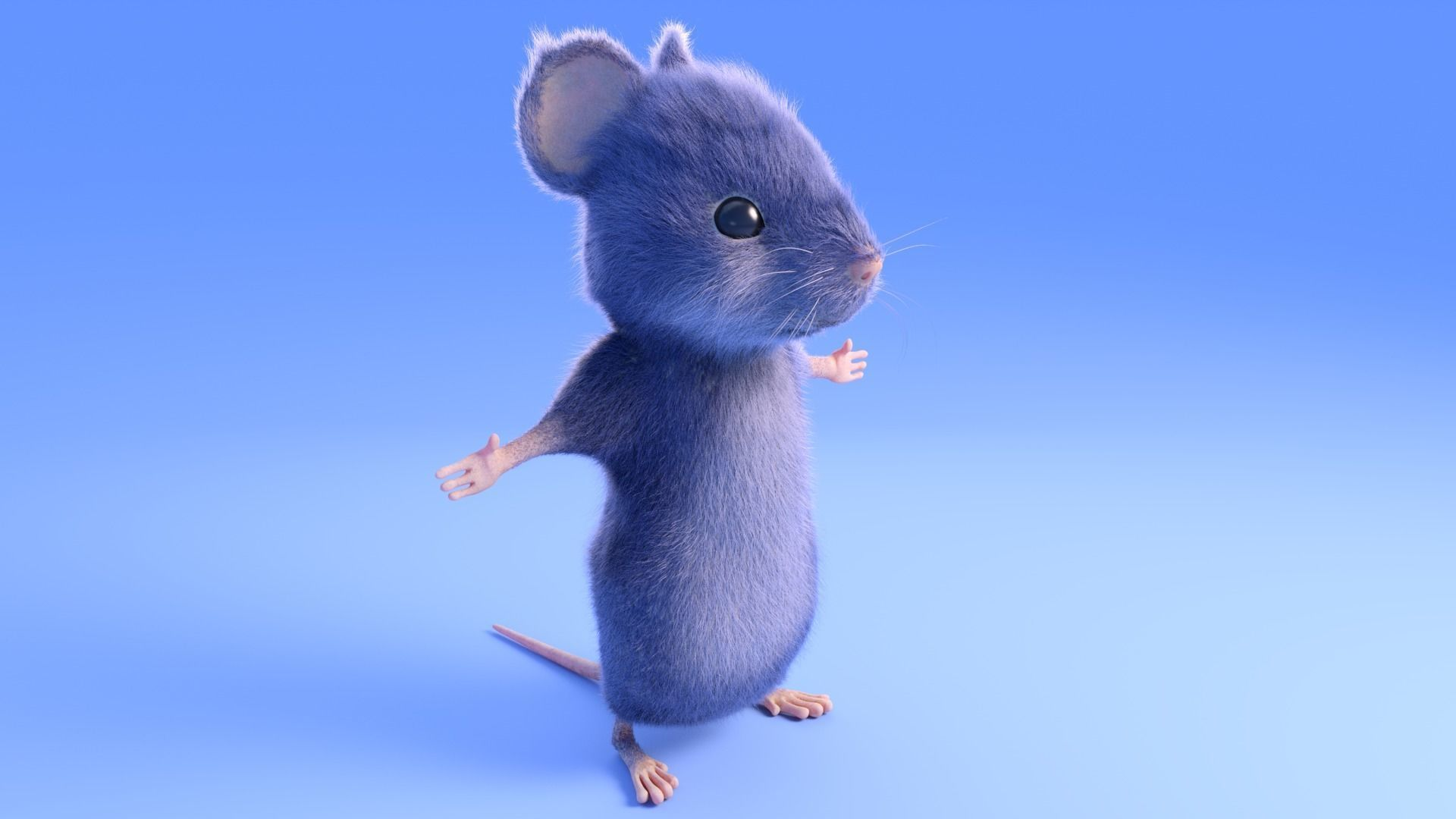 Mouse - grey - Cartoon style - rigged