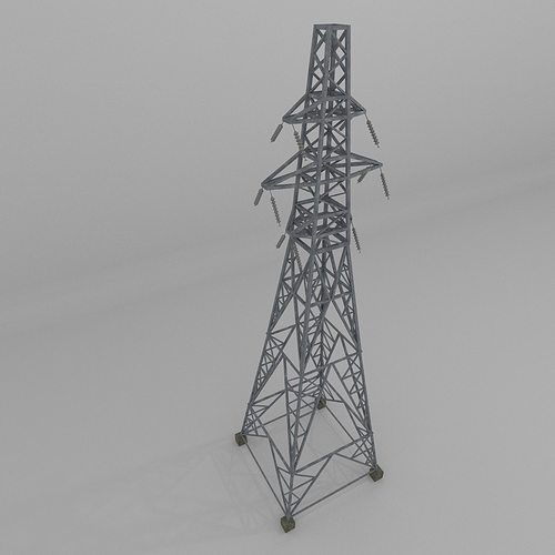 column power lines 3d model low-poly obj 3ds fbx blend dae x3d 1