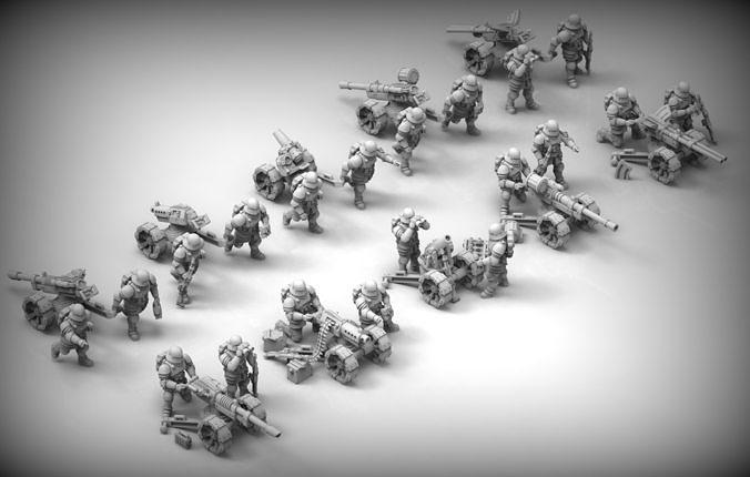 feudal guard heavy weapons teams 3d model stl 1