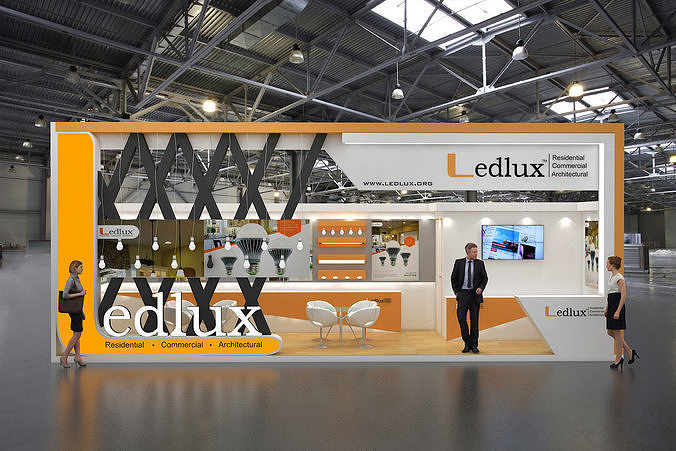 exhibition stand design 9x3mtr 3d model max 1