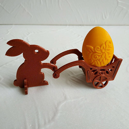 Easter bunny with a handcart
