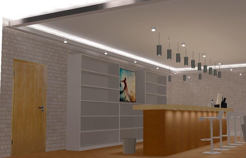 Direct And Indirect Led Lighting Design Of A Bar Cafe Model