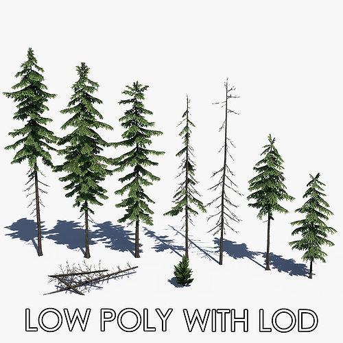 pine tree pack 01 3d model max obj mtl 3ds fbx ma mb skp 1