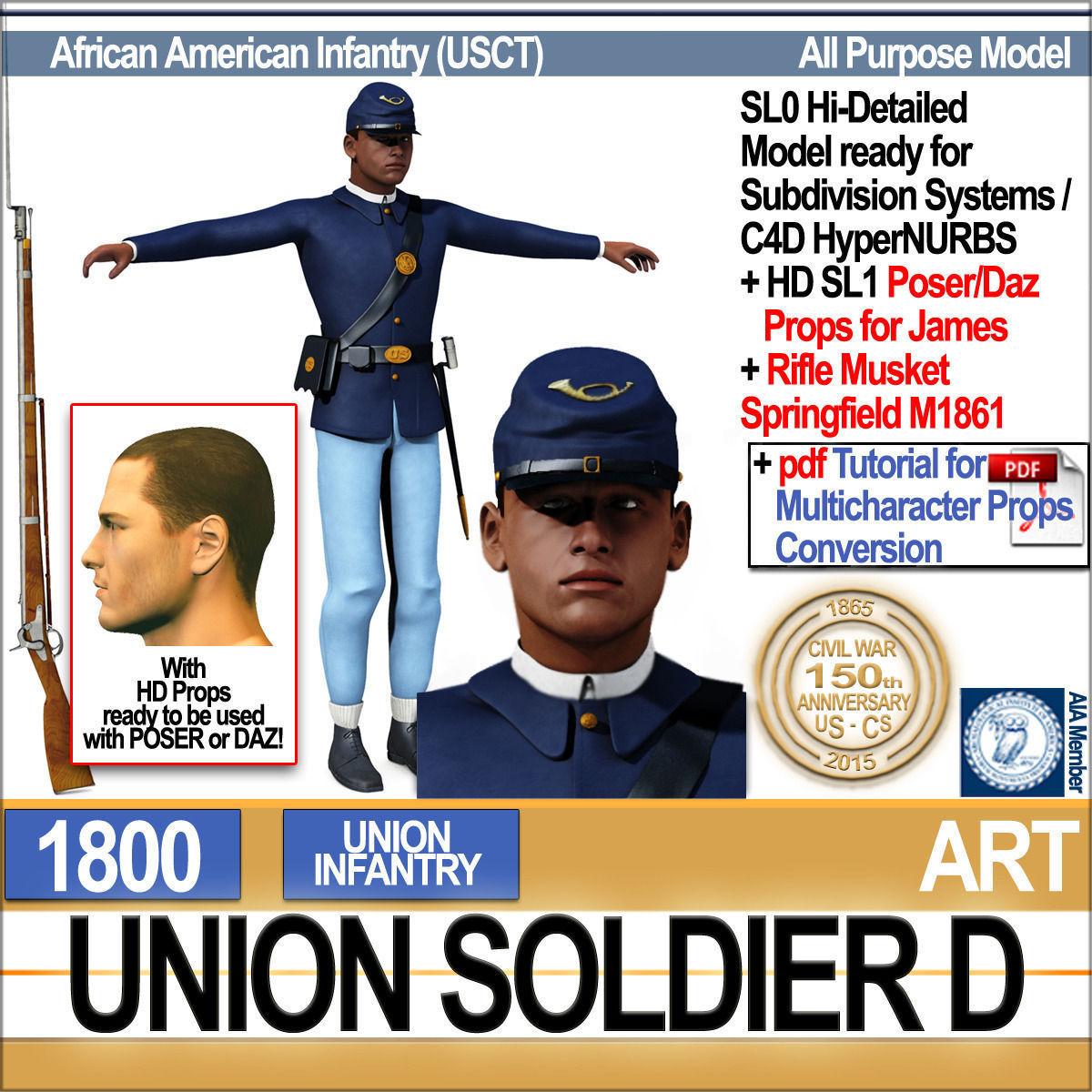 Civil War Union Soldier D African American Infantry wt PoserDaz