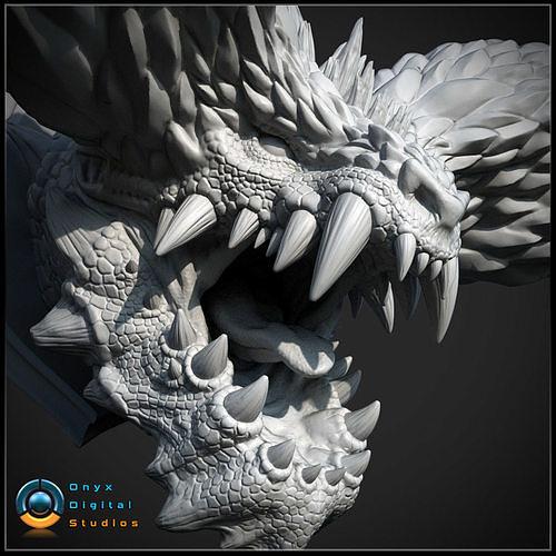 3d printable monster hunter head - nergigante 3d model stl 1