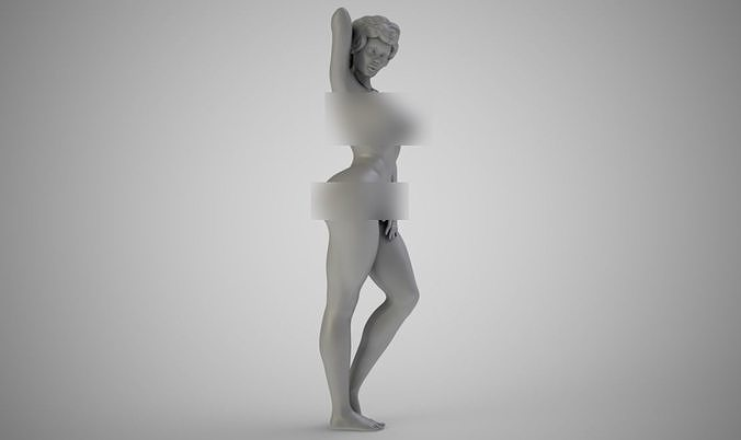 beautiful woman standing 3d model obj mtl stl 3mf 1