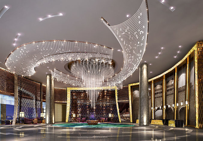 hotel lobby  3d model max obj mtl 3ds 1