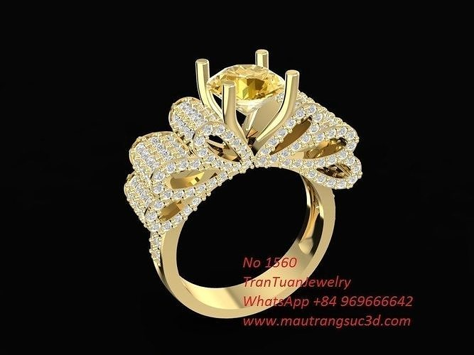 1560 diamond bow tie ring 3d model stl 3dm 1