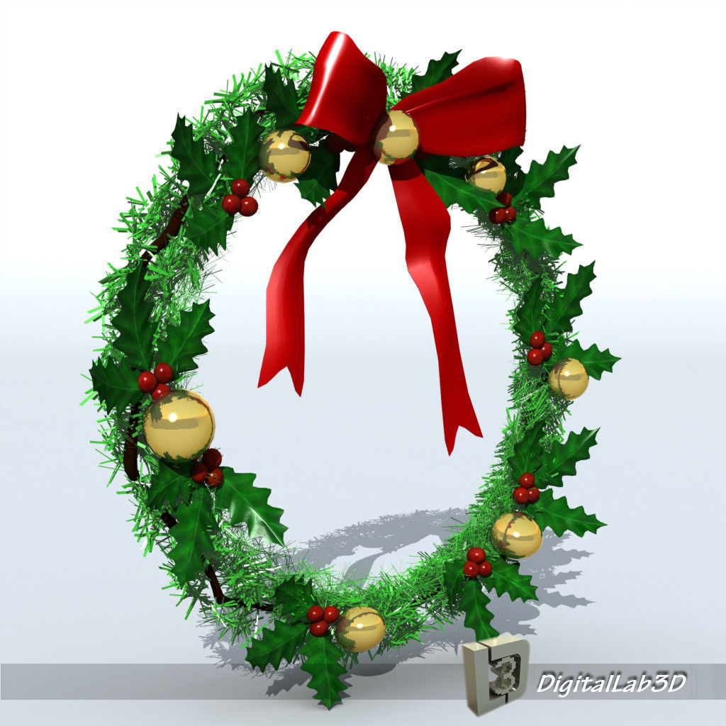 3d model christmas wreath 1 bells cgtrader