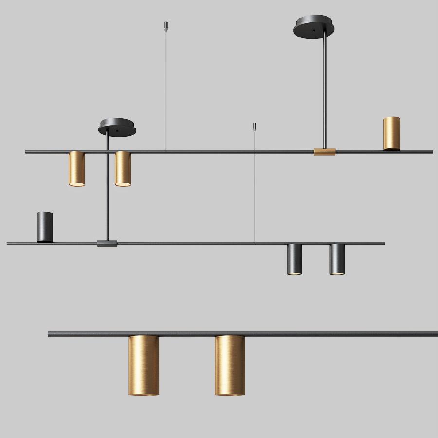 3d Model Mid Century Modern 3 Light Linear Ceiling Light 1