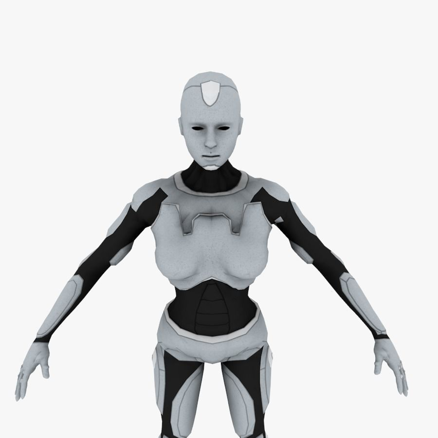 Low-poly Sci-fi Female Android | 3D model
