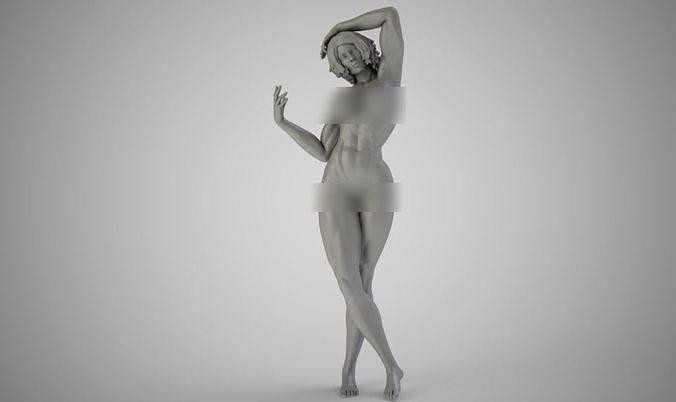 muscular girl  3d model obj mtl stl 3mf 1