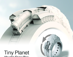tiny planet movable finger ring contest entry 3d print model