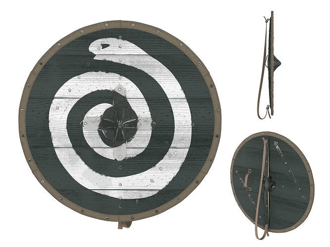 viking round shield 4 3d model max obj mtl fbx mdl 1