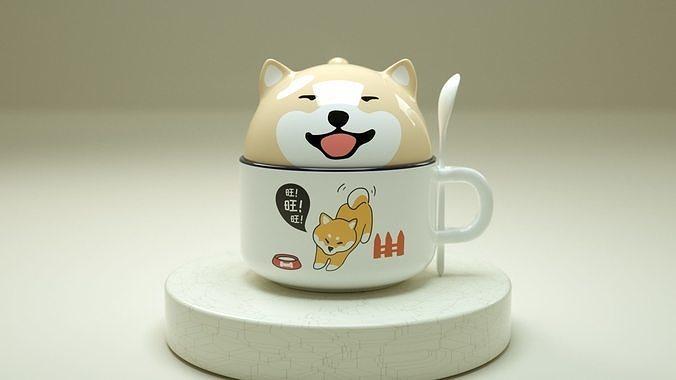 cute doggy cup 3d model obj mtl 3ds fbx c4d stl X 1