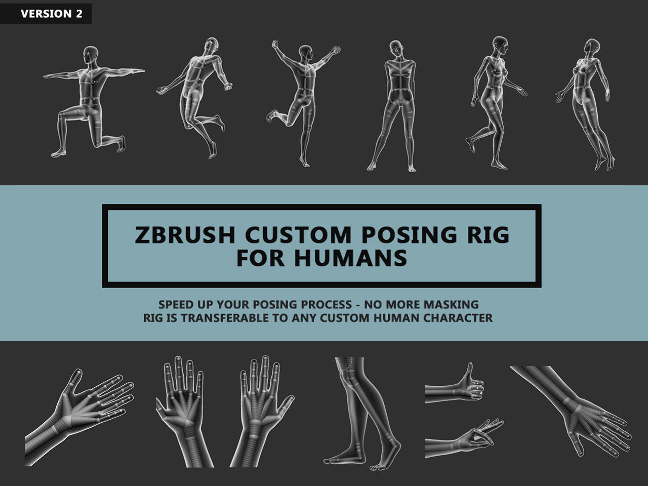 Zbrush Custom Posing Rig Tool For Humans V2