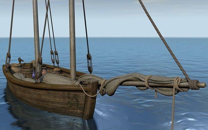 sailboat with a commodity 3d model obj mtl 3ds fbx c4d dxf 1