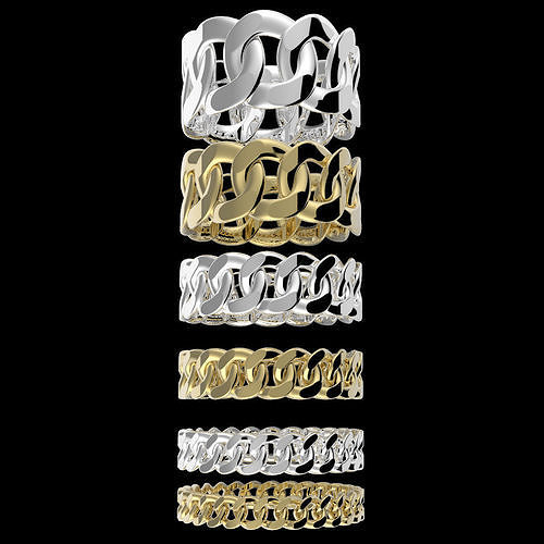 Assorted Cuban Link Band Ring