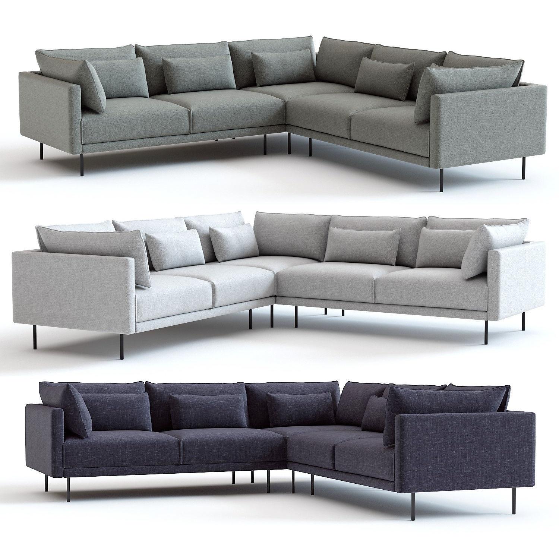 West Elm Halsey L-Shaped Sectional Sofa | 3D model