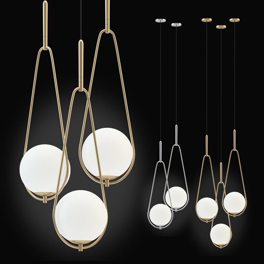 Kare Pendant Lamp Loop chrom and gold