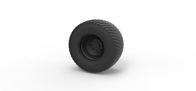 diecast rear wheel from pulling tractor 3d model obj mtl stl 1