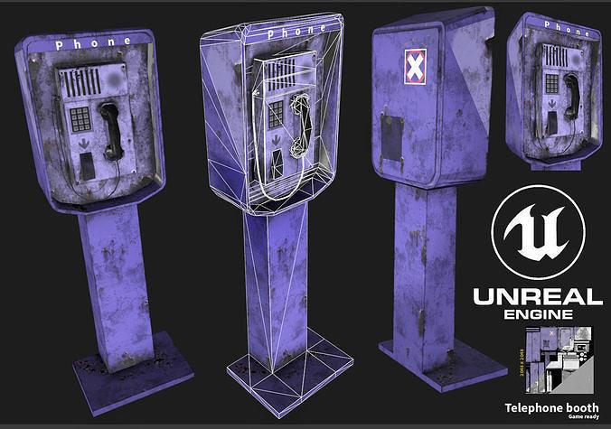 pay phone 3d model max obj mtl 3ds fbx dxf stl 1