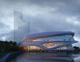 3d model city hotel commercial office building design 74