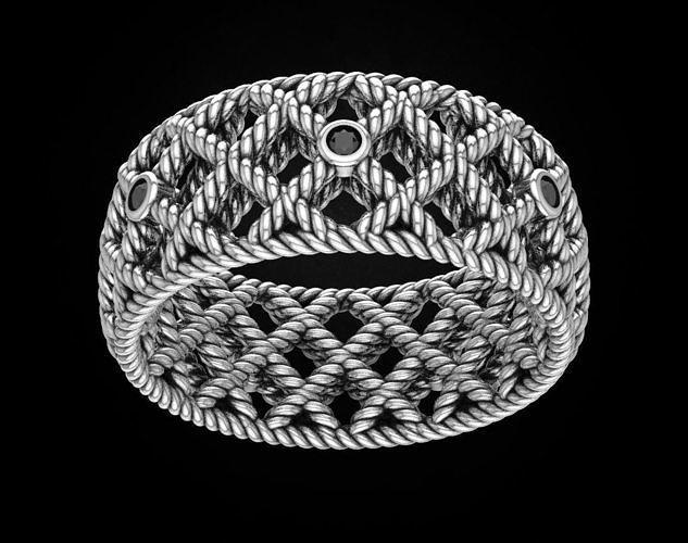 Stylish metal rope ring 459