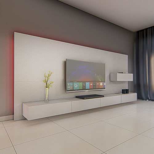3dnikmodels TV Wall 03   Sketchup 3D Model