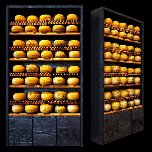 shelves with cheese 3d model max obj mtl 1