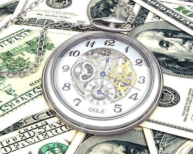 time is money  watch and dollars 3d model max obj mtl 3ds fbx 1