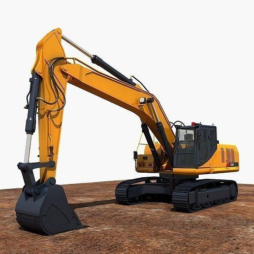 excavator  3d model max fbx 1