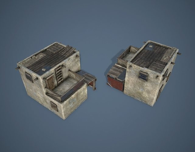 fortified house 3d model low-poly max obj mtl fbx 1