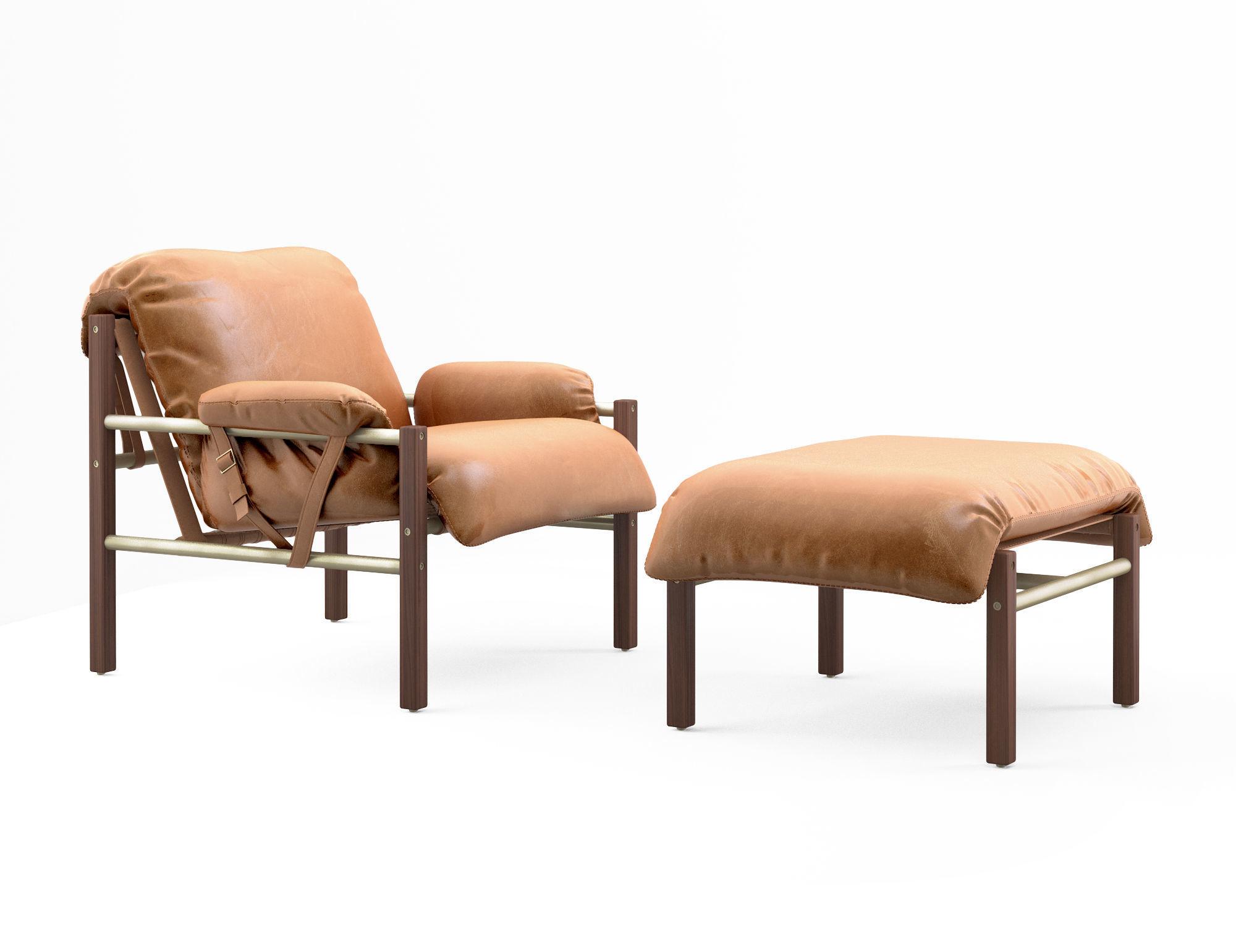 Cool Bassam Fellows Sling Club Chair And Ottoman 3D Model Spiritservingveterans Wood Chair Design Ideas Spiritservingveteransorg