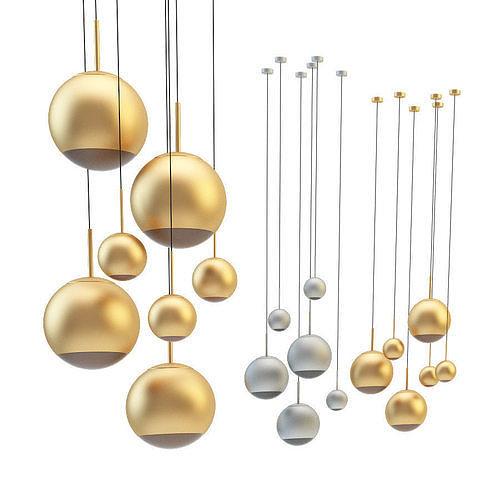 mirror ball pendant chrome and gold light set 3d model max fbx 1