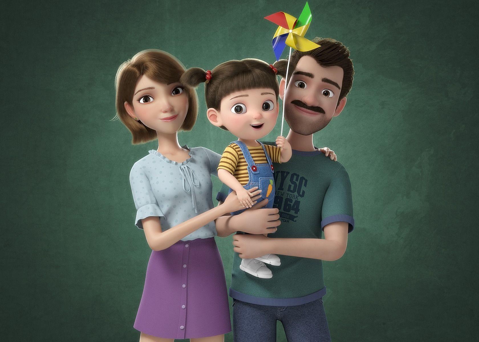 3d Cartoon Family Rigged V7 Cgtrader