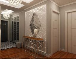 interior scene - flat 02 - modern style - hall 3d