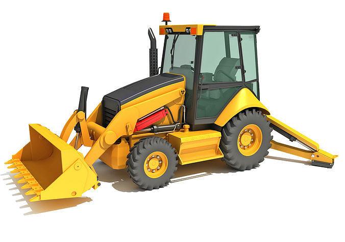 backhoe loader 3d model max obj mtl 3ds c4d lwo lw lws ma mb 1