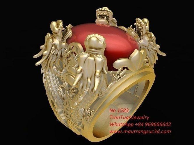 1583 lucky dragon ring 3d model stl 3dm 1