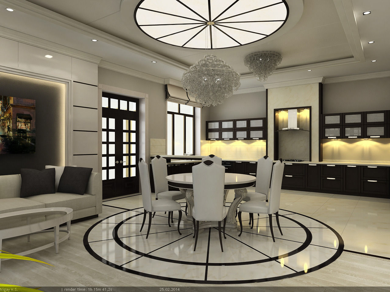 Interior scene project 3 kitchen dinning room 3d model for Dining room 3d max interior scenes