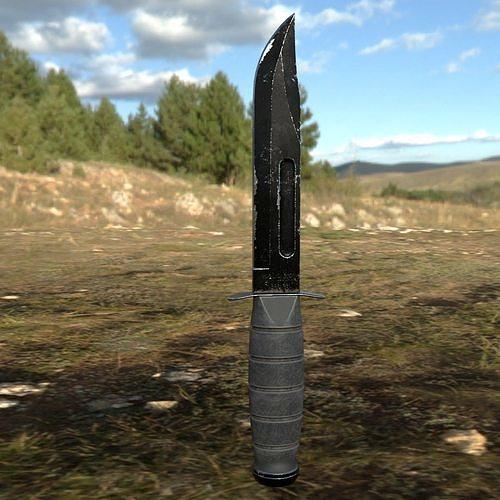 ka-bar knife low poly 3d model obj mtl fbx blend 1