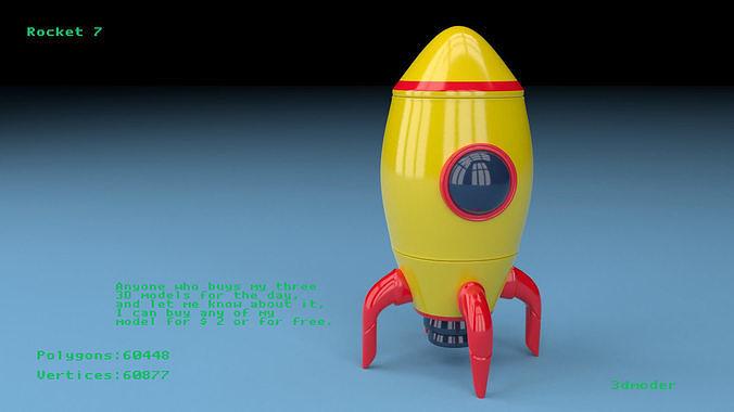 rocket 7 3d model obj mtl fbx stl blend x3d 1