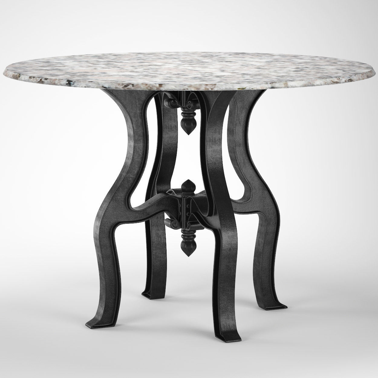 Peachy French Industrial White Marble Top Round Dining Table 48 3D Model Beutiful Home Inspiration Xortanetmahrainfo
