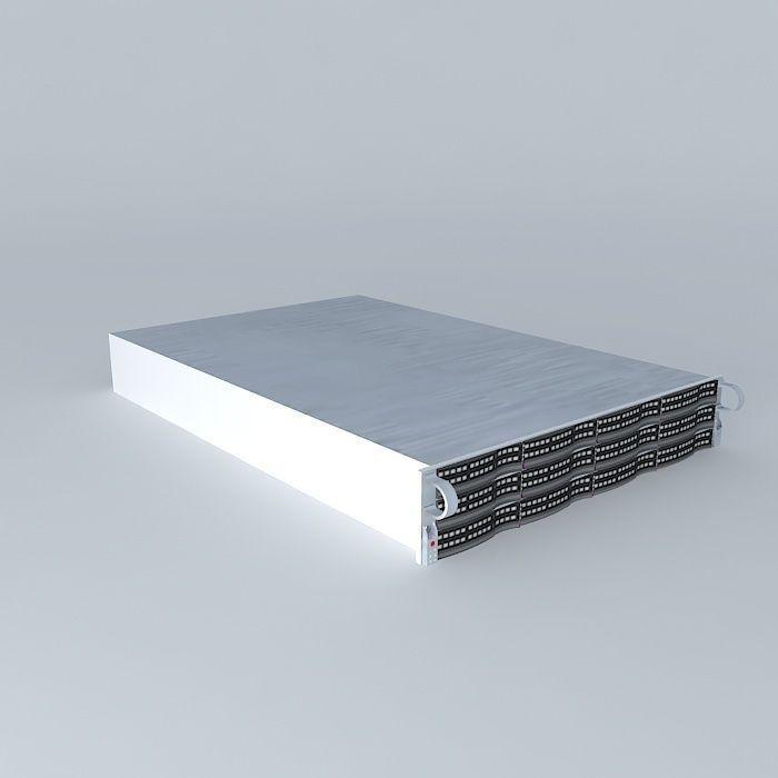 SuperMicro 12 x 1 Terrabyte drive 2u server 3D model