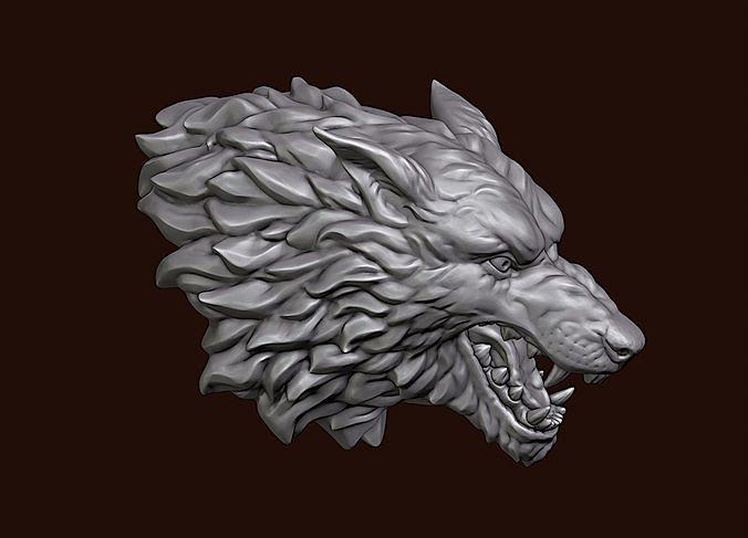 wolf head 3d model obj mtl fbx stl blend 1