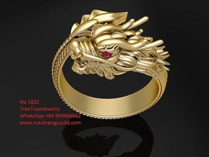 1602 luxury dragon ring verison 2 3d model stl 3dm 1