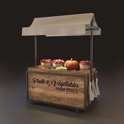 fruits stall and food stand 3d model obj mtl 3ds fbx blend dae skp 1
