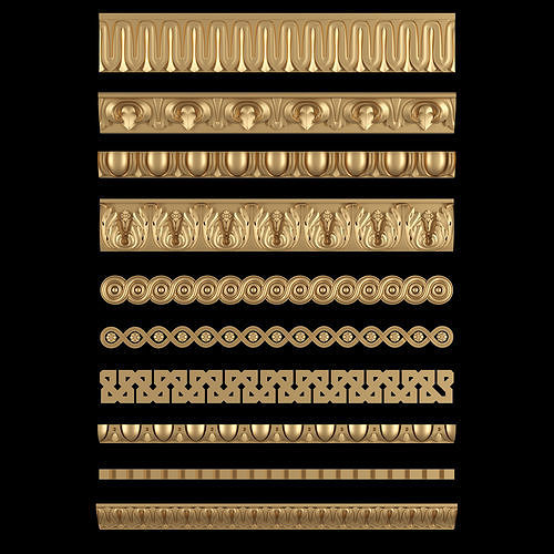 decorative moldings set 02 3d model stl 1
